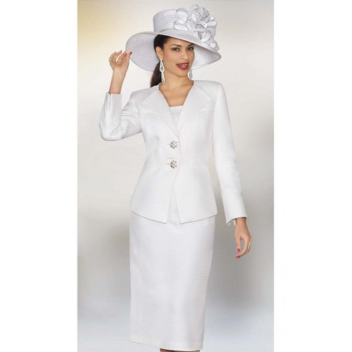 Lily and Taylor 3850 Womens White Church Suit